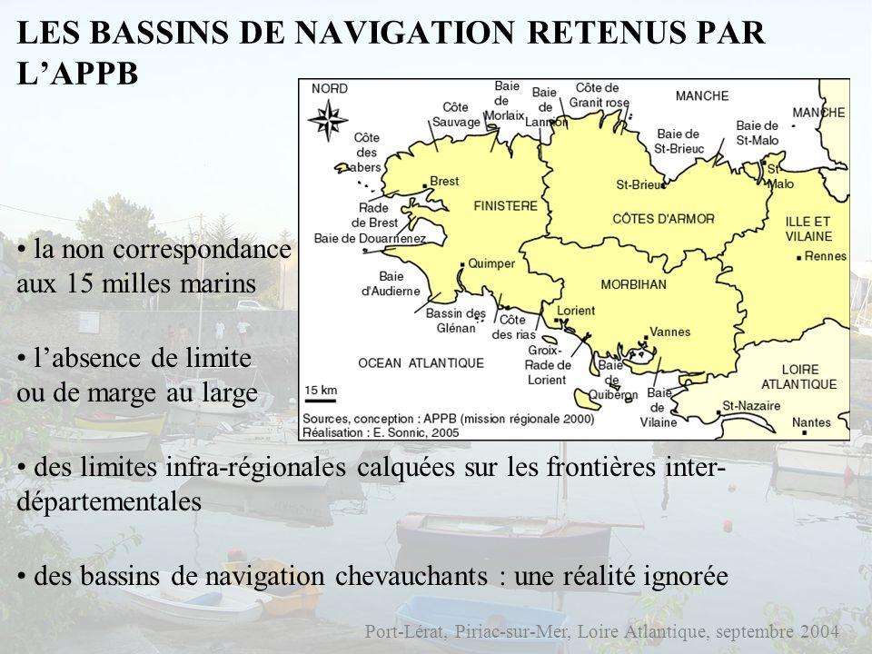 LES BASSINS DE NAVIGATION RETENUS PAR LAPPB Port-Lérat, Piriac-sur-Mer, Loire Atlantique, septembre 2004 la non correspondance aux 15 milles marins la