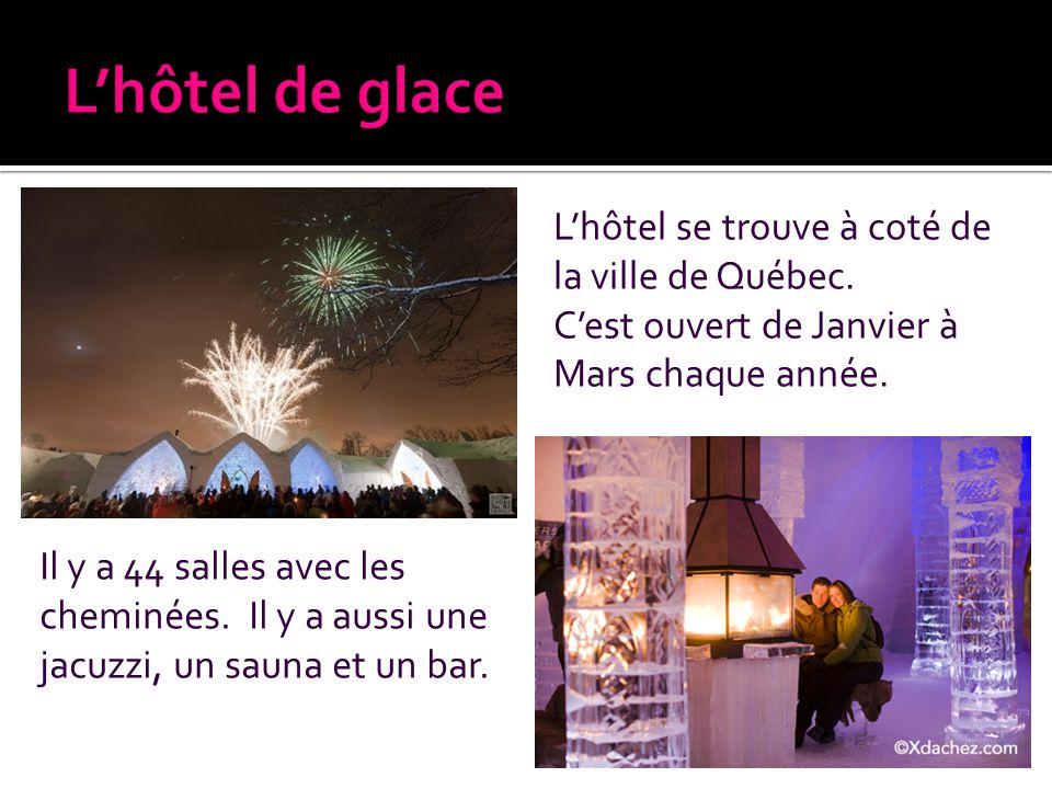 Lhôtel se trouve à coté de la ville de Québec. Cest ouvert de Janvier à Mars chaque année. Il y a 44 salles avec les cheminées. Il y a aussi une jacuz