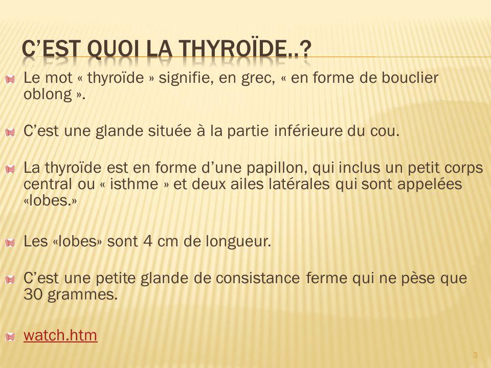 La thyroïde produit plusieurs hormones, dont deux sont essentiels: la triiodothyronine (T3) et la thyroxine (T4).