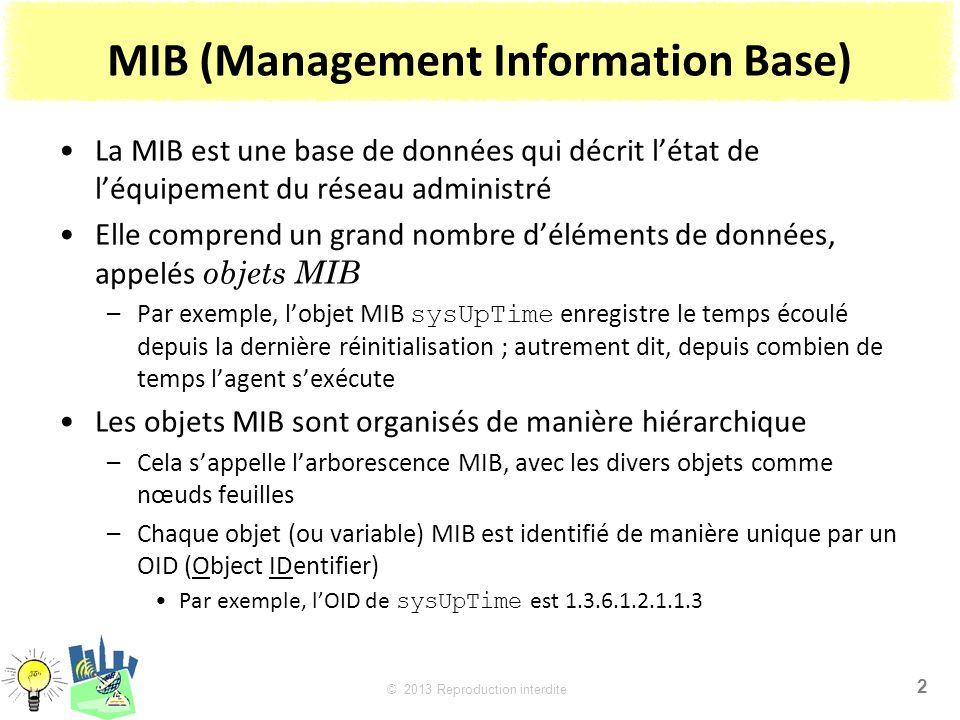 2 © 2013 Reproduction interdite MIB (Management Information Base) La MIB est une base de données qui décrit létat de léquipement du réseau administré Elle comprend un grand nombre déléments de données, appelés objets MIB –Par exemple, lobjet MIB sysUpTime enregistre le temps écoulé depuis la dernière réinitialisation ; autrement dit, depuis combien de temps lagent sexécute Les objets MIB sont organisés de manière hiérarchique –Cela sappelle larborescence MIB, avec les divers objets comme nœuds feuilles –Chaque objet (ou variable) MIB est identifié de manière unique par un OID (Object IDentifier) Par exemple, lOID de sysUpTime est 1.3.6.1.2.1.1.3