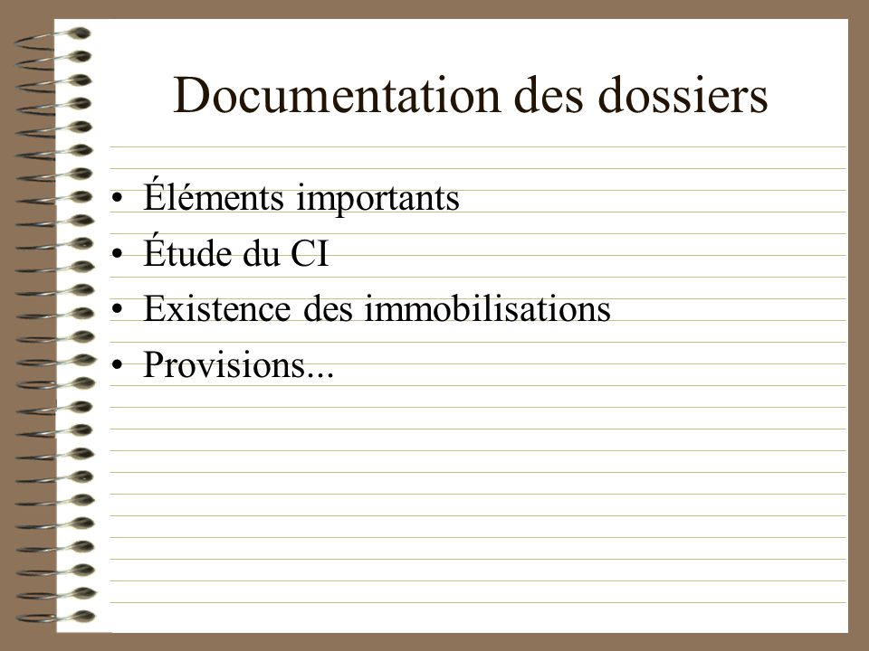Documentation des dossiers Éléments importants Étude du CI Existence des immobilisations Provisions...