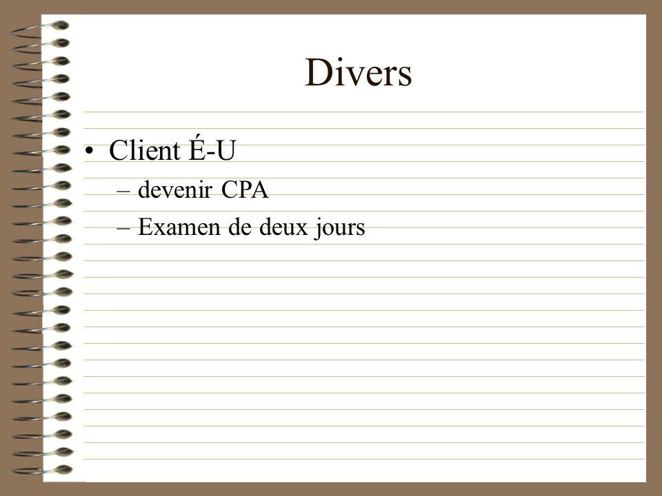 Divers Client É-U –devenir CPA –Examen de deux jours