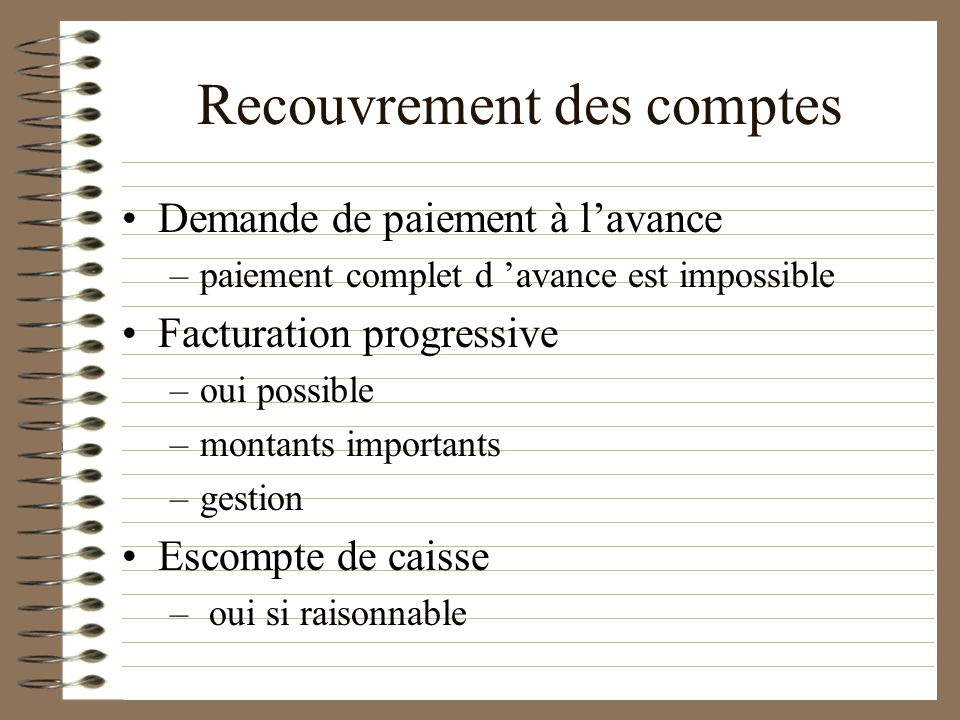 Recouvrement des comptes Rétention des documents du client Impossible 3.01.05