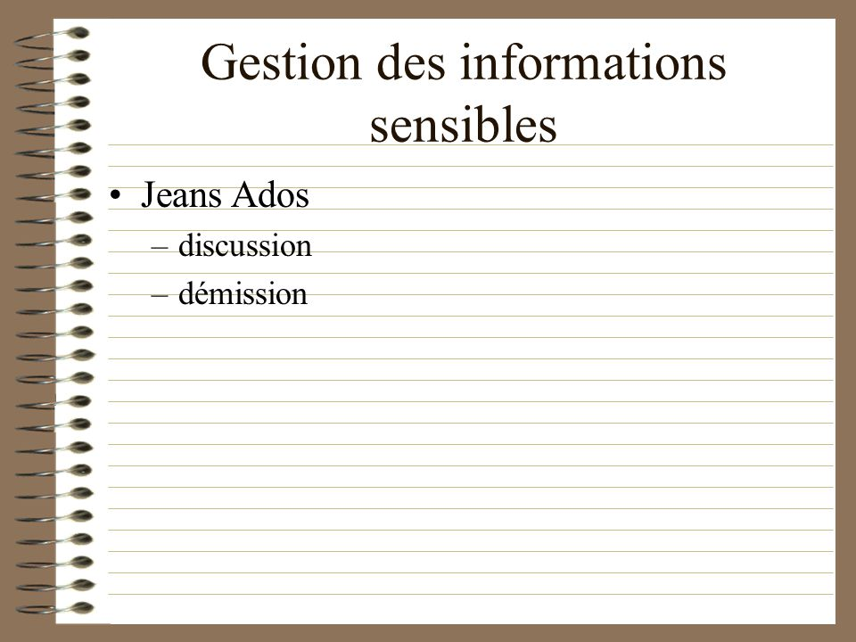 Gestion des informations sensibles Jeans Ados –discussion –démission