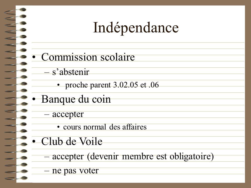 Indépendance Commission scolaire –sabstenir proche parent 3.02.05 et.06 Banque du coin –accepter cours normal des affaires Club de Voile –accepter (devenir membre est obligatoire) –ne pas voter