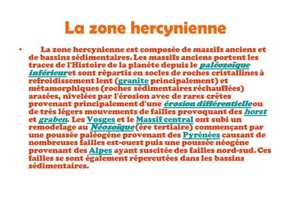 La zone hercynienne La zone hercynienne est composée de massifs anciens et de bassins sédimentaires. Les massifs anciens portent les traces de l'Histo