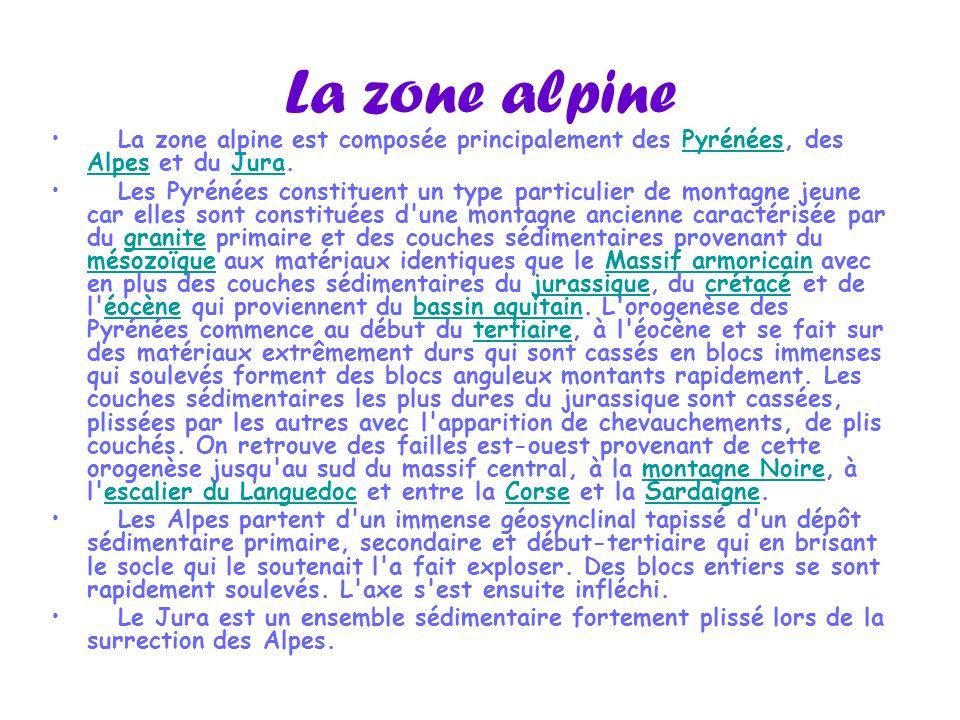 La zone alpine La zone alpine est composée principalement des Pyrénées, des Alpes et du Jura.Pyrénées AlpesJura Les Pyrénées constituent un type parti