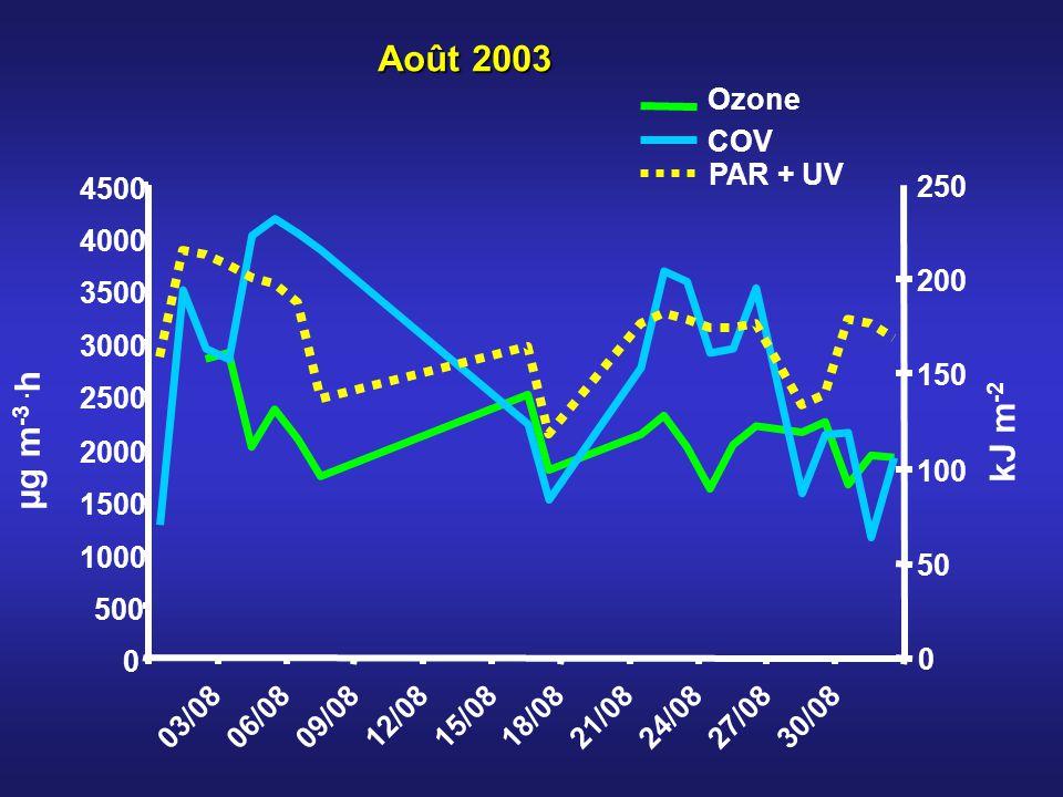 Ozone COV PAR + UV Août 2003 0 500 1000 1500 2000 2500 3000 3500 4000 4500 03/0806/0809/0812/0815/0818/0821/0824/0827/0830/08 0 50 100 150 200 250 µg