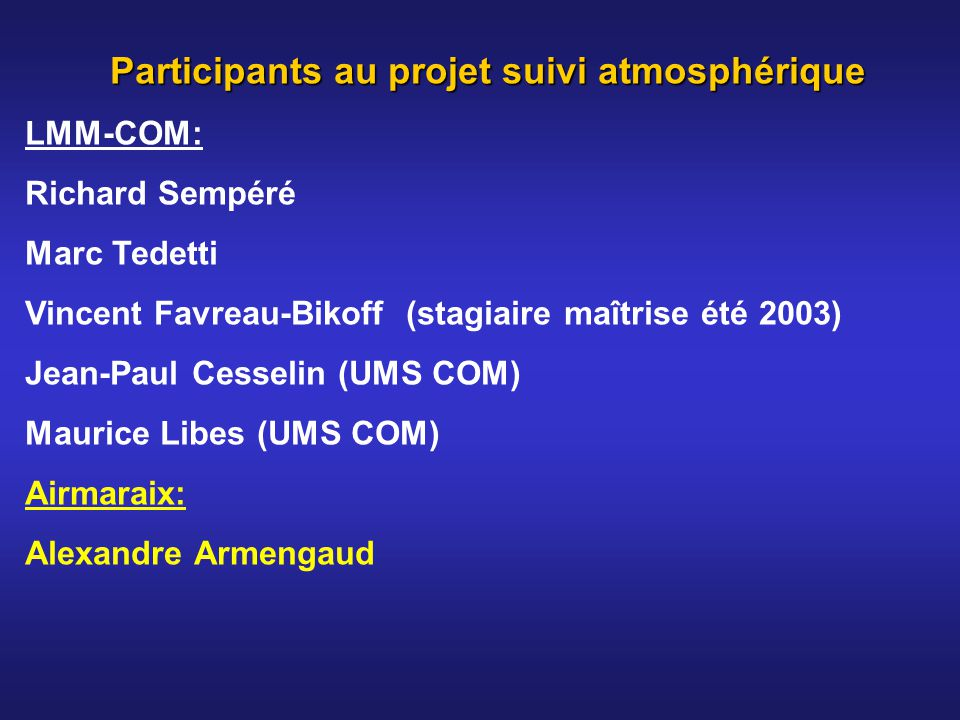 Participants au projet suivi atmosphérique LMM-COM: Richard Sempéré Marc Tedetti Vincent Favreau-Bikoff (stagiaire maîtrise été 2003) Jean-Paul Cessel