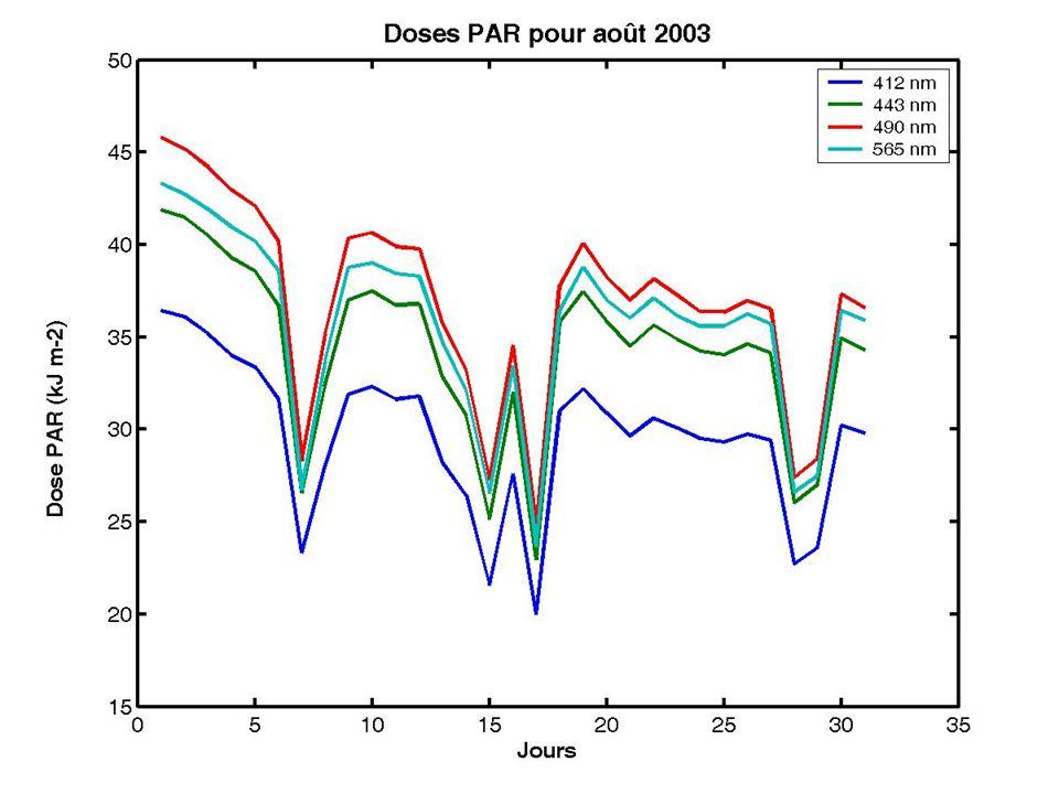 Ozone COV PAR + UV Août 2003 0 500 1000 1500 2000 2500 3000 3500 4000 4500 03/0806/0809/0812/0815/0818/0821/0824/0827/0830/08 0 50 100 150 200 250 µg m -3.