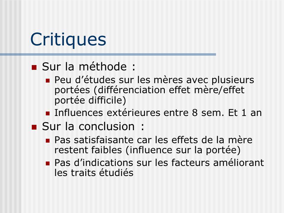 Critiques Sur la méthode : Peu détudes sur les mères avec plusieurs portées (différenciation effet mère/effet portée difficile) Influences extérieures