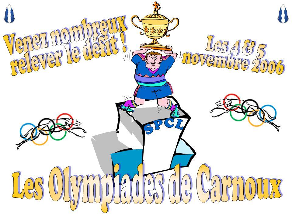 LA SPCL ET CRUCHOT VOUS INVITENT A PARTICIPER AUX OLYMPIADES DE CARNOUX Les olympiades sont ouvertes à tous les whippets ou greyhounds, quelle que soit leur catégorie, tous pourront samuser Toute lannée nous courons grâce à des lévriers de catégorie inférieure aux A Ces olympiades sont faites pour eux Venez nombreux !!.