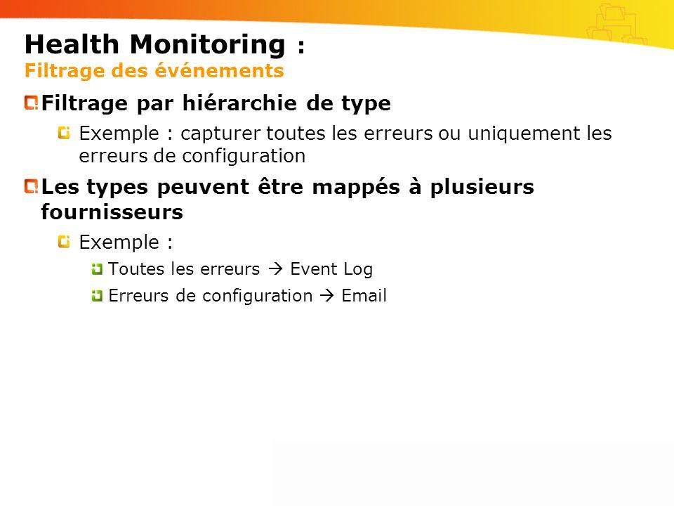 Health Monitoring : Filtrage des événements Filtrage par hiérarchie de type Exemple : capturer toutes les erreurs ou uniquement les erreurs de configuration Les types peuvent être mappés à plusieurs fournisseurs Exemple : Toutes les erreurs Event Log Erreurs de configuration Email