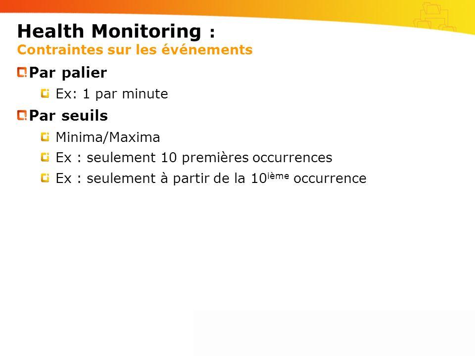 Health Monitoring : Contraintes sur les événements Par palier Ex: 1 par minute Par seuils Minima/Maxima Ex : seulement 10 premières occurrences Ex : seulement à partir de la 10 ième occurrence