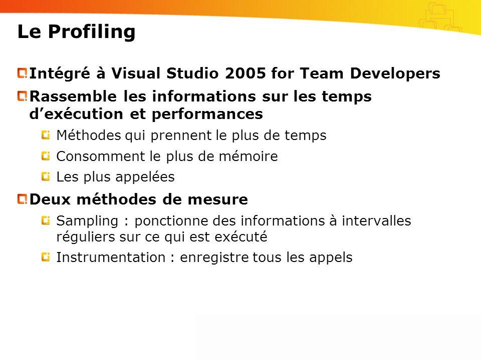 Intégré à Visual Studio 2005 for Team Developers Rassemble les informations sur les temps dexécution et performances Méthodes qui prennent le plus de temps Consomment le plus de mémoire Les plus appelées Deux méthodes de mesure Sampling : ponctionne des informations à intervalles réguliers sur ce qui est exécuté Instrumentation : enregistre tous les appels