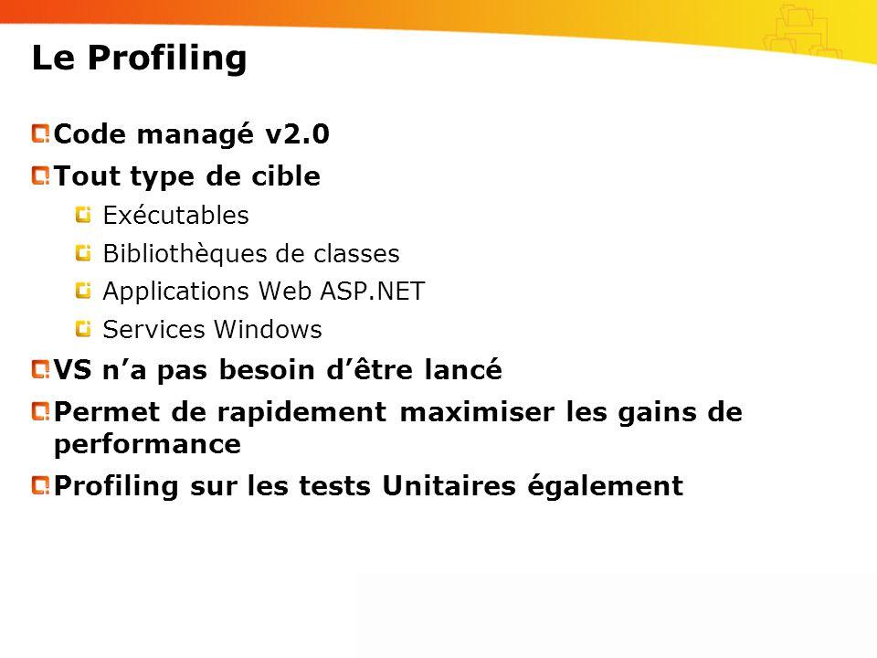 Le Profiling Code managé v2.0 Tout type de cible Exécutables Bibliothèques de classes Applications Web ASP.NET Services Windows VS na pas besoin dêtre lancé Permet de rapidement maximiser les gains de performance Profiling sur les tests Unitaires également