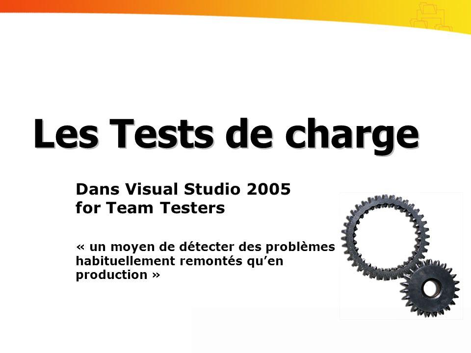 Dans Visual Studio 2005 for Team Testers « un moyen de détecter des problèmes habituellement remontés quen production » Les Tests de charge