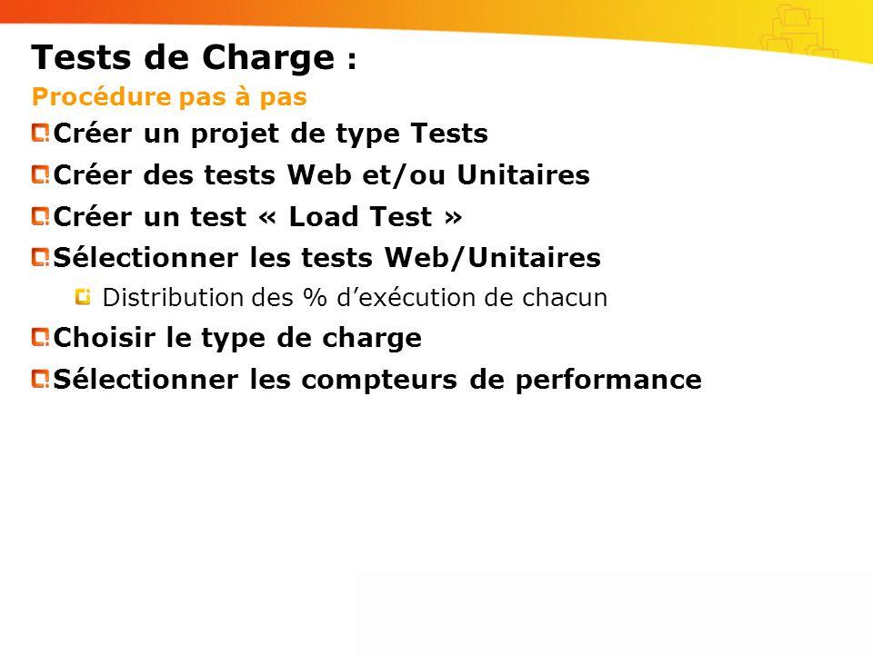 Tests de Charge : Procédure pas à pas Créer un projet de type Tests Créer des tests Web et/ou Unitaires Créer un test « Load Test » Sélectionner les tests Web/Unitaires Distribution des % dexécution de chacun Choisir le type de charge Sélectionner les compteurs de performance