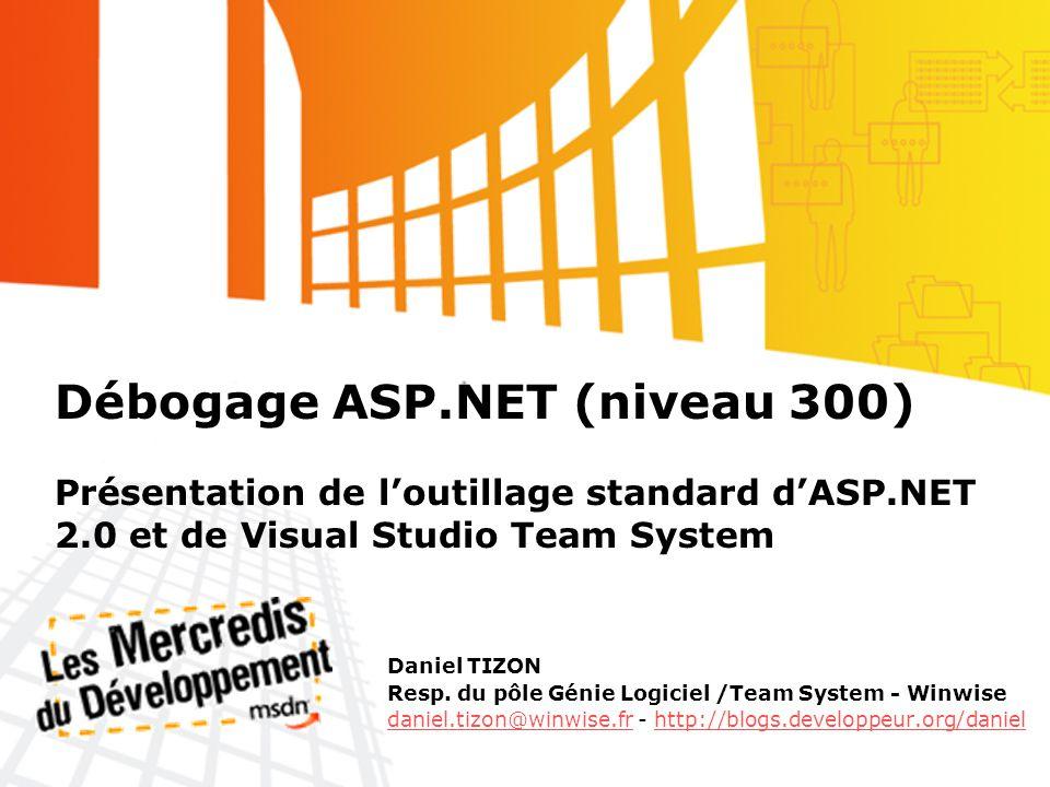 Débogage ASP.NET (niveau 300) Présentation de loutillage standard dASP.NET 2.0 et de Visual Studio Team System Daniel TIZON Resp.