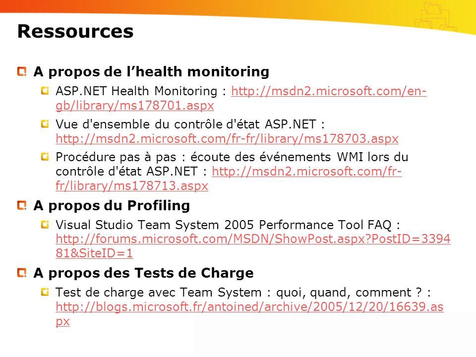 Ressources A propos de lhealth monitoring ASP.NET Health Monitoring : http://msdn2.microsoft.com/en- gb/library/ms178701.aspxhttp://msdn2.microsoft.com/en- gb/library/ms178701.aspx Vue d ensemble du contrôle d état ASP.NET : http://msdn2.microsoft.com/fr-fr/library/ms178703.aspx http://msdn2.microsoft.com/fr-fr/library/ms178703.aspx Procédure pas à pas : écoute des événements WMI lors du contrôle d état ASP.NET : http://msdn2.microsoft.com/fr- fr/library/ms178713.aspxhttp://msdn2.microsoft.com/fr- fr/library/ms178713.aspx A propos du Profiling Visual Studio Team System 2005 Performance Tool FAQ : http://forums.microsoft.com/MSDN/ShowPost.aspx?PostID=3394 81&SiteID=1 http://forums.microsoft.com/MSDN/ShowPost.aspx?PostID=3394 81&SiteID=1 A propos des Tests de Charge Test de charge avec Team System : quoi, quand, comment .