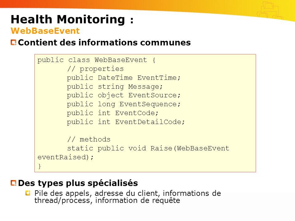 Health Monitoring : Configuration Dans le Web.config du serveur Dans le Web.config de lapplication Section événements gérés destinataires enregistrés mappage événements/destinataires paramètres des événements paramètres des destinataires