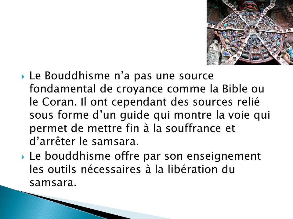 Le Bouddhisme na pas une source fondamental de croyance comme la Bible ou le Coran. Il ont cependant des sources relié sous forme dun guide qui montre