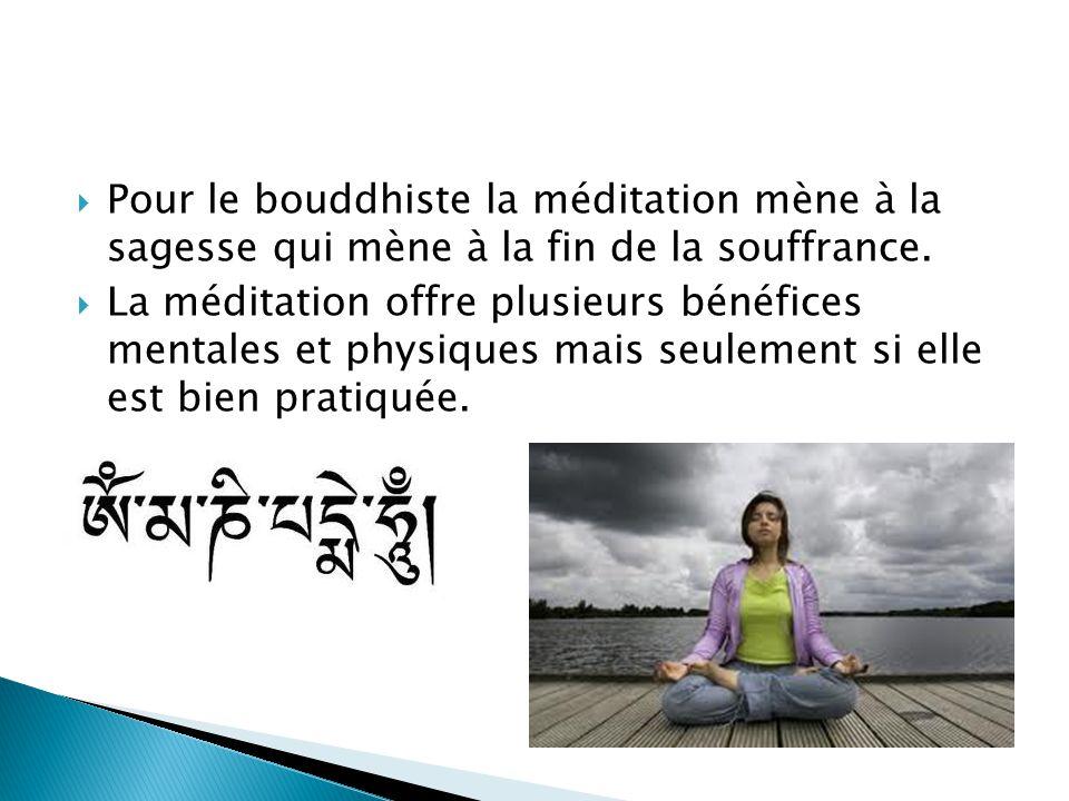 Pour le bouddhiste la méditation mène à la sagesse qui mène à la fin de la souffrance. La méditation offre plusieurs bénéfices mentales et physiques m