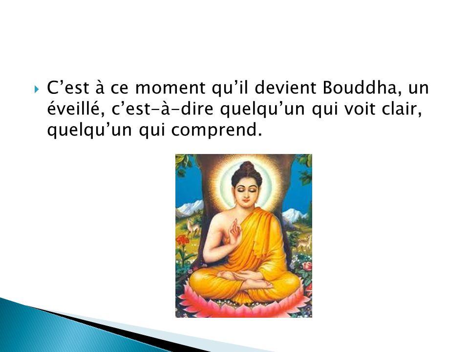 Cest à ce moment quil devient Bouddha, un éveillé, cest-à-dire quelquun qui voit clair, quelquun qui comprend.