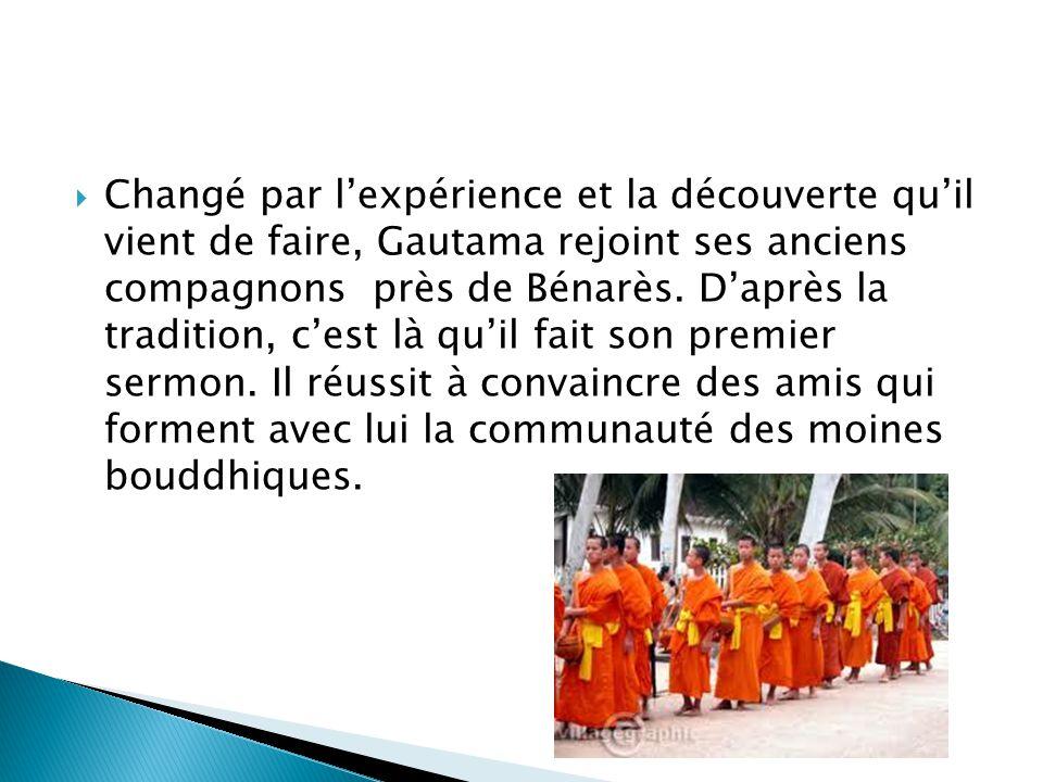 Changé par lexpérience et la découverte quil vient de faire, Gautama rejoint ses anciens compagnons près de Bénarès. Daprès la tradition, cest là quil