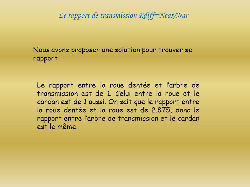 Le rapport de transmission Rdiff=Ncar/Nar Le rapport entre la roue dentée et larbre de transmission est de 1. Celui entre la roue et le cardan est de