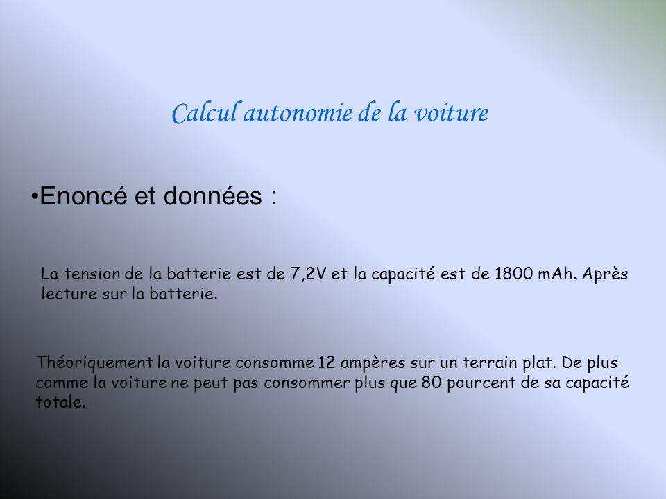 Calcul autonomie de la voiture Théoriquement la voiture consomme 12 ampères sur un terrain plat. De plus comme la voiture ne peut pas consommer plus q