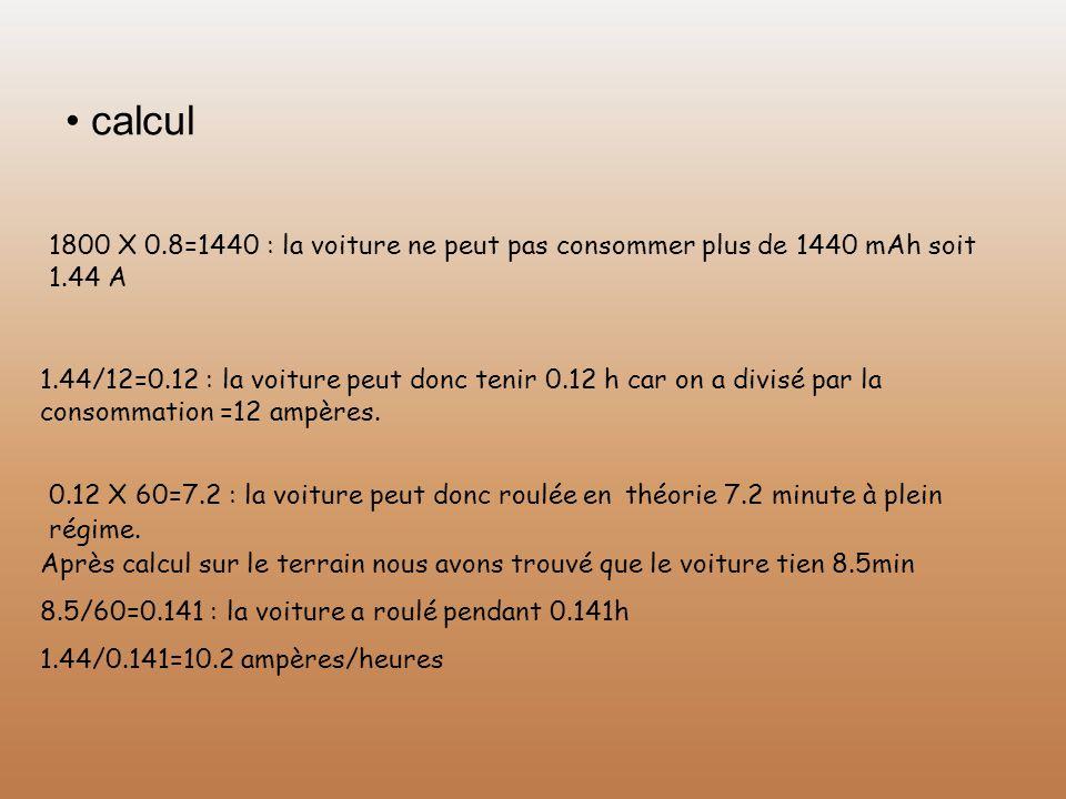 calcul 1800 X 0.8=1440 : la voiture ne peut pas consommer plus de 1440 mAh soit 1.44 A 1.44/12=0.12 : la voiture peut donc tenir 0.12 h car on a divis