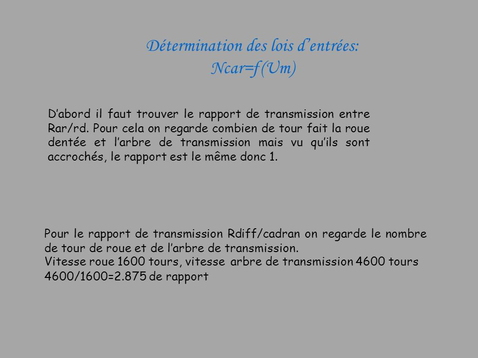 Détermination des lois dentrées: Ncar=ƒ(Um) Dabord il faut trouver le rapport de transmission entre Rar/rd. Pour cela on regarde combien de tour fait