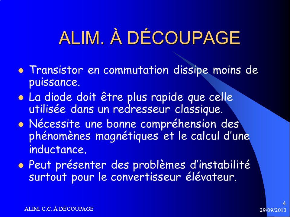 29/09/2013 ALIM. C.C. À DÉCOUPAGE 25 CIRCUIT ÉLÉVATEUR E = 0.5 L 1 I p 2