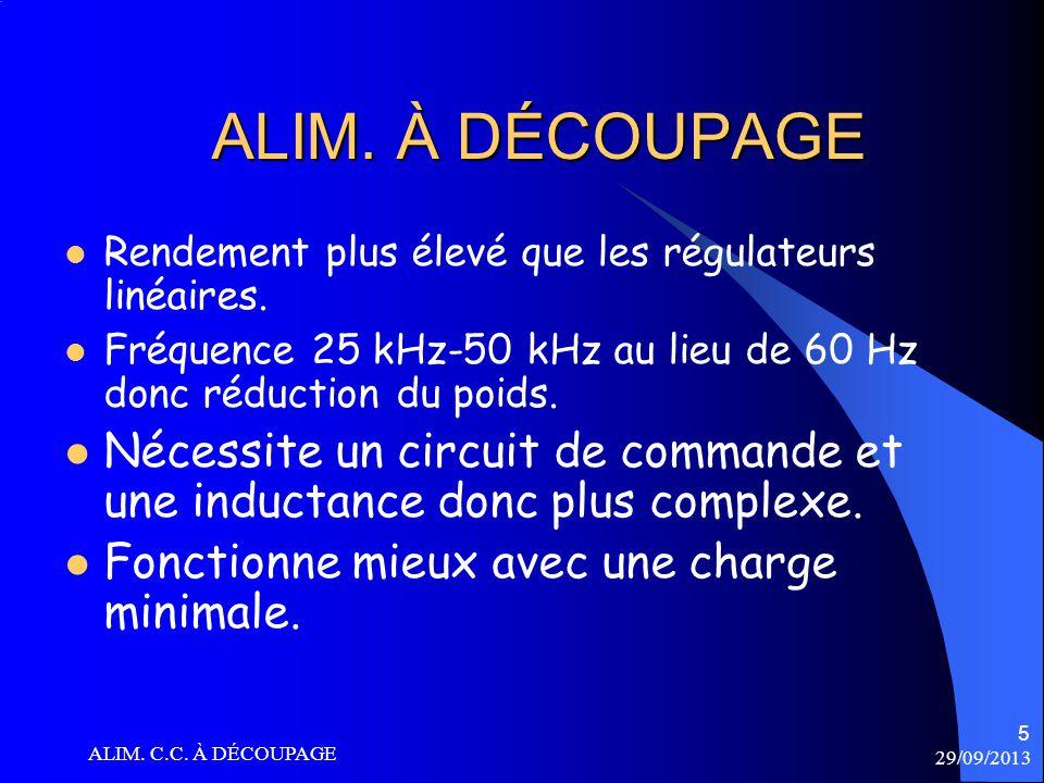 29/09/2013 ALIM. C.C. À DÉCOUPAGE 26 CIRCUIT ÉLÉVATEUR