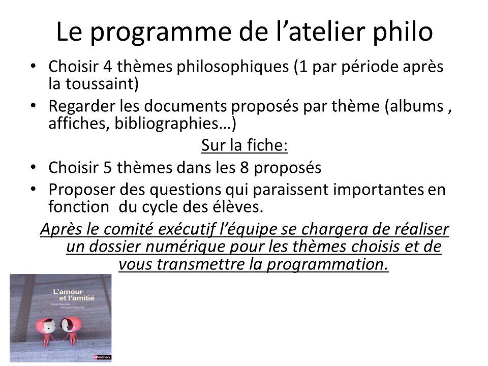 Le programme de latelier philo Choisir 4 thèmes philosophiques (1 par période après la toussaint) Regarder les documents proposés par thème (albums, a
