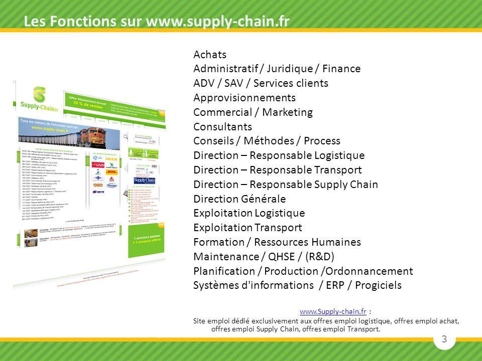3 Les Fonctions sur www.supply-chain.fr Achats Administratif / Juridique / Finance ADV / SAV / Services clients Approvisionnements Commercial / Market