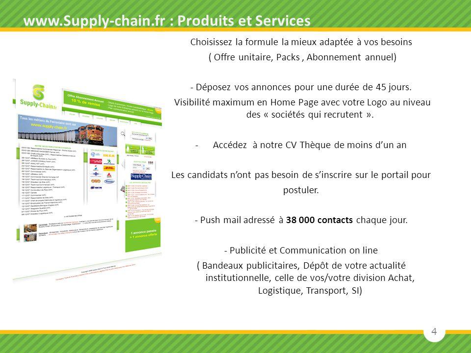 4 www.Supply-chain.fr : Produits et Services Choisissez la formule la mieux adaptée à vos besoins ( Offre unitaire, Packs, Abonnement annuel) - Dépose