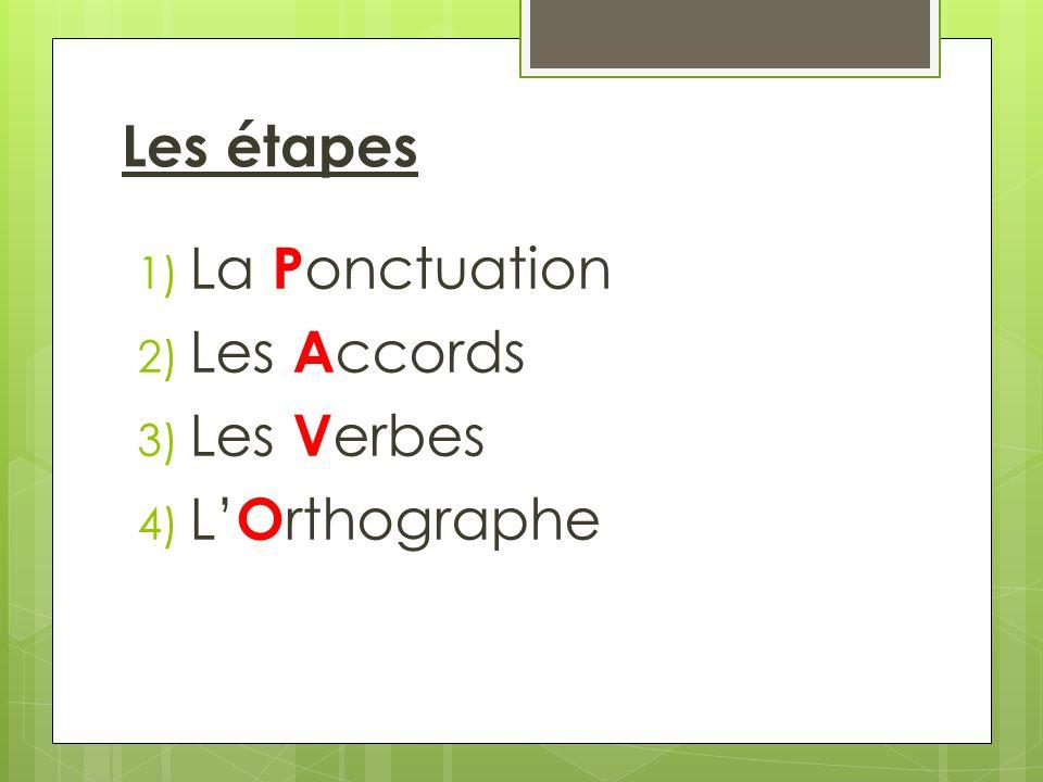 Les étapes 1) La P onctuation 2) Les A ccords 3) Les V erbes 4) L O rthographe