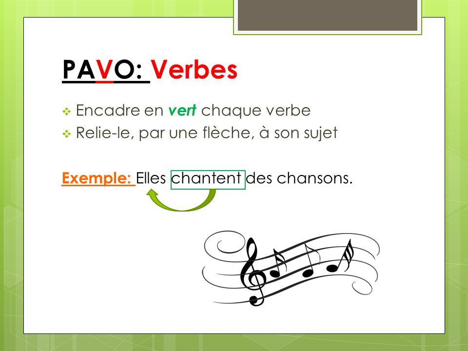 PAVO: Verbes Encadre en vert chaque verbe Relie-le, par une flèche, à son sujet Exemple: Elles chantent des chansons.