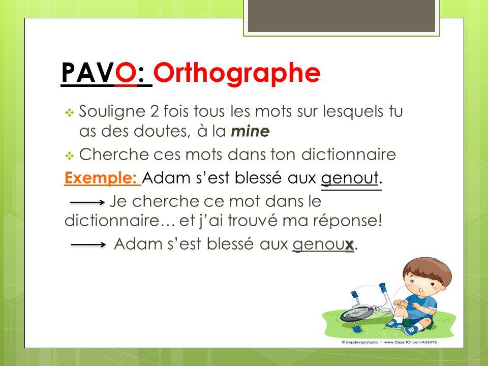 PAVO: Orthographe Souligne 2 fois tous les mots sur lesquels tu as des doutes, à la mine Cherche ces mots dans ton dictionnaire Exemple: Adam sest blessé aux genout.