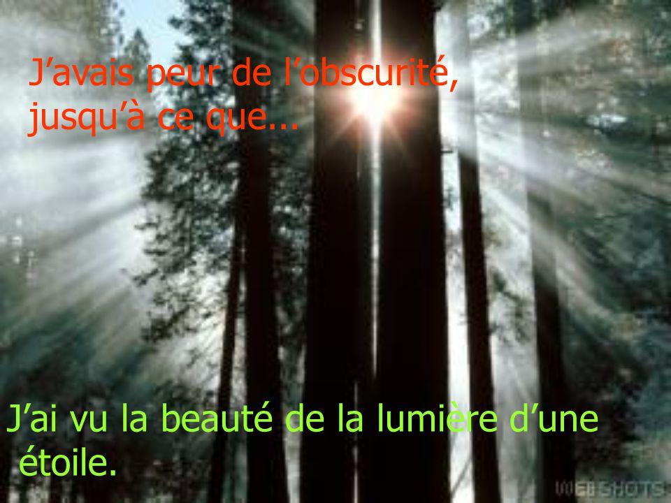 Javais peur de lobscurité, jusquà ce que... Jai vu la beauté de la lumière dune étoile.