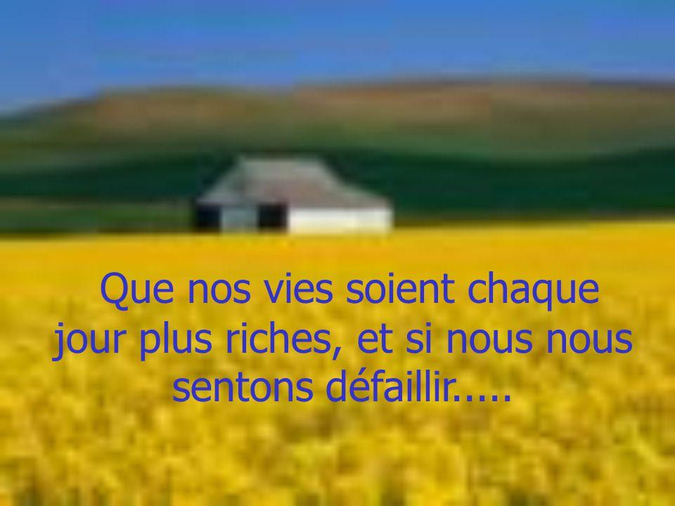 Que nos vies soient chaque jour plus riches, et si nous nous sentons défaillir.....