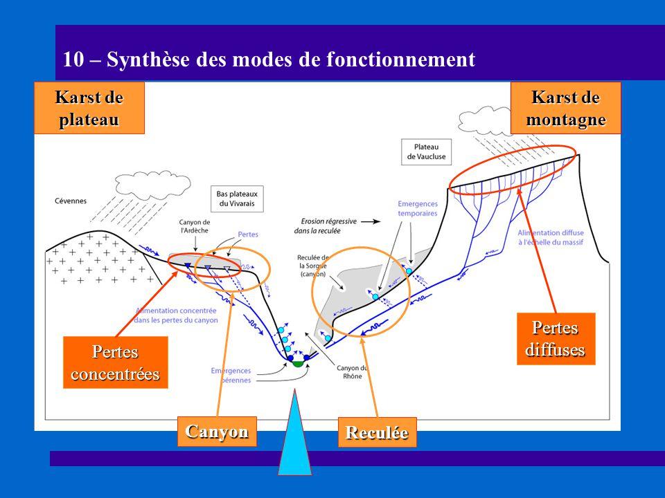 10 – Synthèse des modes de fonctionnement Canyon Reculée Pertes diffuses Pertes concentrées Karst de plateau Karst de montagne