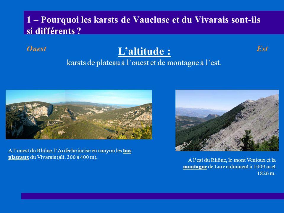 1 – Pourquoi les karsts de Vaucluse et du Vivarais sont-ils si différents ? A louest du Rhône, lArdèche incise en canyon les bas plateaux du Vivarais
