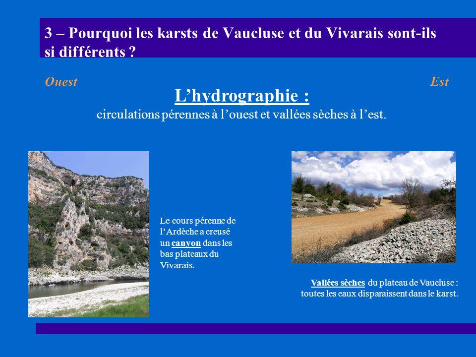 3 – Pourquoi les karsts de Vaucluse et du Vivarais sont-ils si différents ? Le cours pérenne de lArdèche a creusé un canyon dans les bas plateaux du V