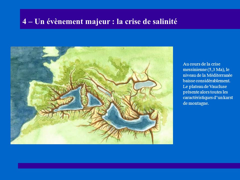 4 – Un évènement majeur : la crise de salinité Au cours de la crise messinienne (5,3 Ma), le niveau de la Méditerranée baisse considérablement. Le pla