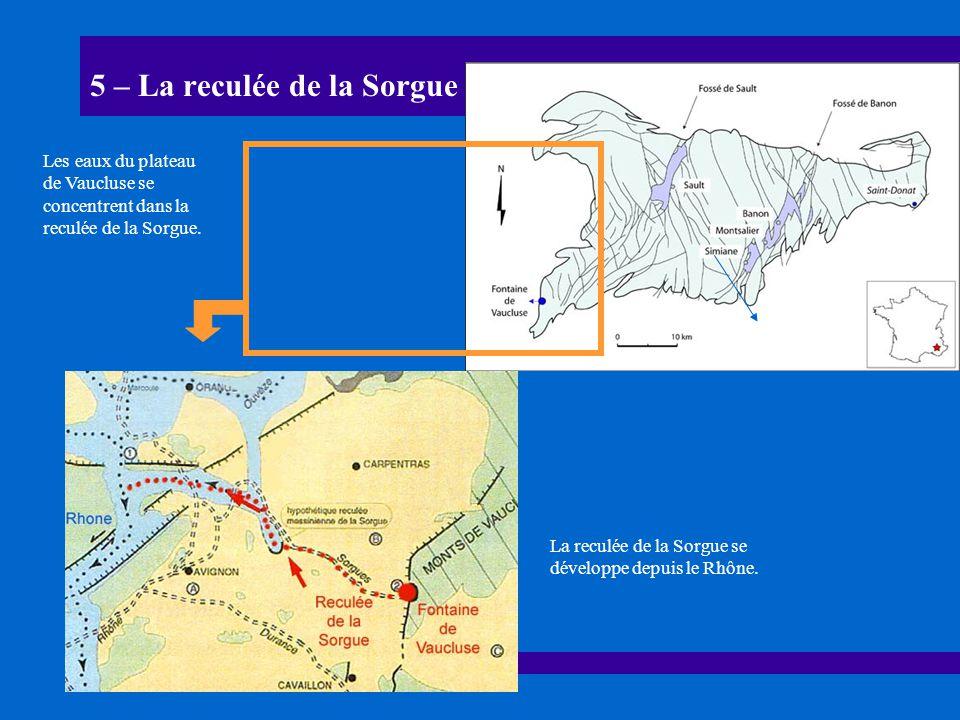 5 – La reculée de la Sorgue La reculée de la Sorgue se développe depuis le Rhône. Les eaux du plateau de Vaucluse se concentrent dans la reculée de la