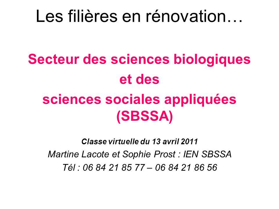 Les filières en rénovation… Secteur des sciences biologiques et des sciences sociales appliquées (SBSSA) Classe virtuelle du 13 avril 2011 Martine Lacote et Sophie Prost : IEN SBSSA Tél : 06 84 21 85 77 – 06 84 21 86 56
