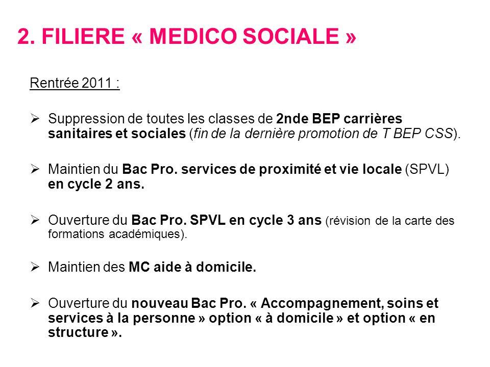 2. FILIERE « MEDICO SOCIALE » Rentrée 2011 : Suppression de toutes les classes de 2nde BEP carrières sanitaires et sociales (fin de la dernière promot